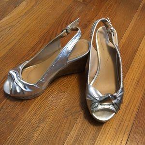 Silver wedge sling-backs